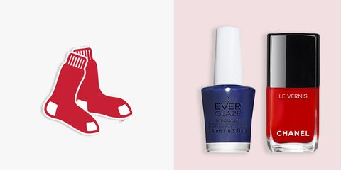 "<p><em><strong>EVERGLAZE in Navy Night, $9, <a href=""http://www.sallybeauty.com/everglaze-nail-polish/SBS-606118,default,pd.html "" target=""_blank"">sallybeauty.com</a>; <em><strong>Chanel Le Vernis in 500 Rouge Essentiel, $28, <a href=""http://www.chanel.com/en_US/fragrance-beauty/makeup-colour-le-vernis-140404/sku/140410"" target=""_blank"">chanel.com</a></strong></em> </strong></em><br> </p><p>If you fancy yourself a frequent visitor of Fenway Park during baseball season, this bold pair of red and blue should be on your radar. Make your first pick known by painting each nail with Chanel's candy apple red, and add navy accents to sport the team's other mascot shade.</p>"