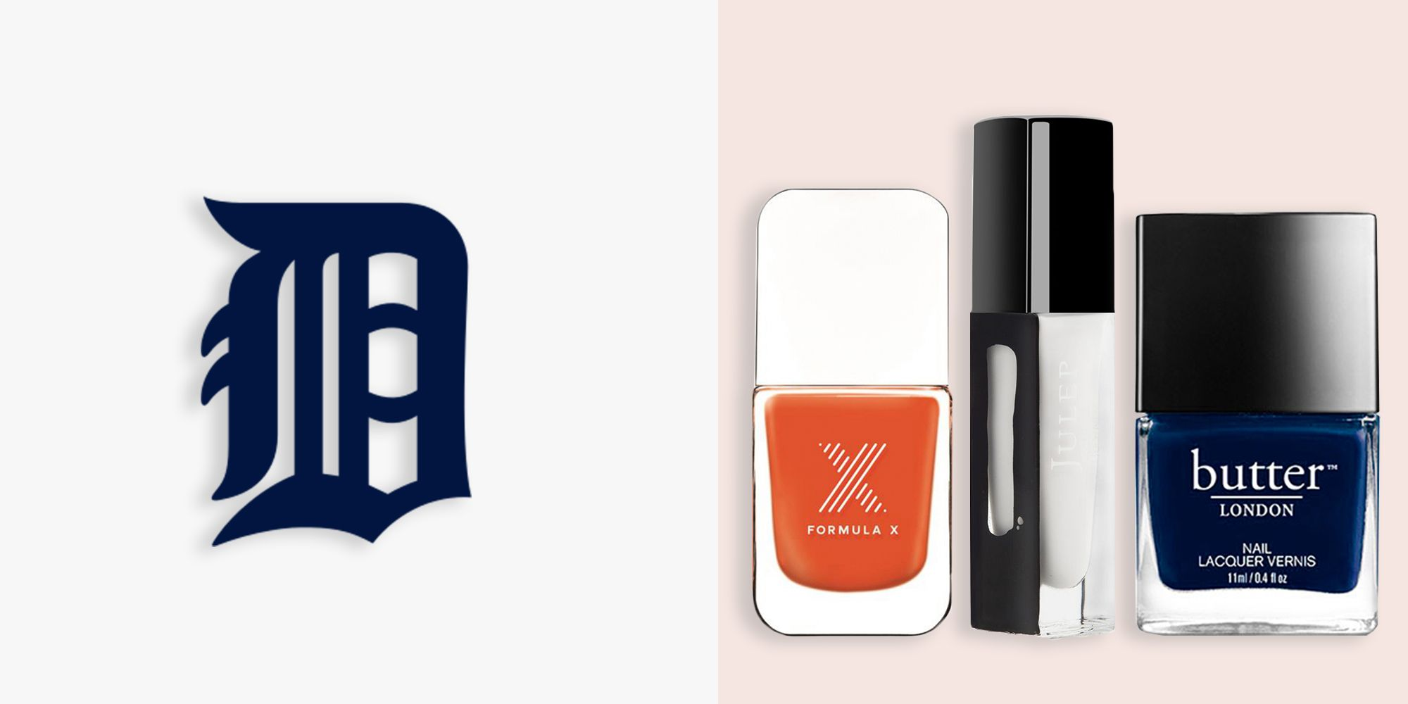 """<p><em><strong><em><strong>Formula X The Colors in Uber, $11, <a href=""""http://www.sephora.com/the-colors-nail-polish-P382111?skuId=1546951"""" target=""""_blank"""">sephora.com</a></strong></em>&#x3B; Julep Nail Polish in Brigitte, $14, <a href=""""http://www.julep.com/shop/new-arrivals/double-tap/brigitte-classic-with-a-twist.html """" target=""""_blank"""">julep.com</a>&#x3B; BUTTER London Nail Lacquer in Royal Navy, $15, <a href=""""http://www.butterlondon.com/Lacquers/Dark-Nail-Lacquers/Royal-Navy.html """" target=""""_blank"""">butterlondon.com</a></strong></em></p><p>Pay homage to the Detroit Tigers with fiercely fabulous tips. To start, cover each nail with two coats of BUTTER London's deep navy shade, followed by a thin tip of Julep's wash-out white for an alternative French mani. Making sure all colors are accounted for, place a solid, medium-sized dot of orange at the center of each nail for a basic design that looks quite intricate.</p>"""