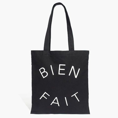 madewell bien fait reusable shopping tote bag in black