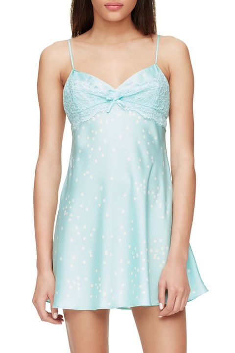 kate spade lace dot chemise in blue and white