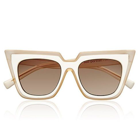 self portrait le specs wayfarer sunglasses in white and blush