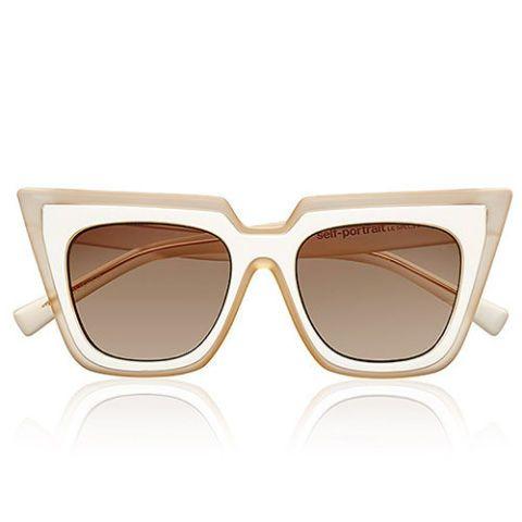 self portrait le specs wayfarer sunglasses in white and blush