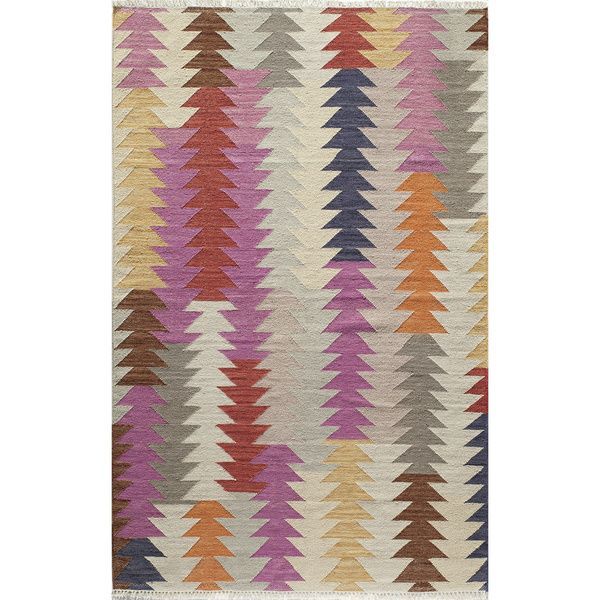 Tribal Elegance Hand-Woven Multi Arrow Wool Rug