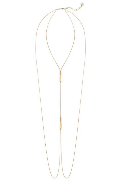 kendra scott james rose gold and brown pearl body chain