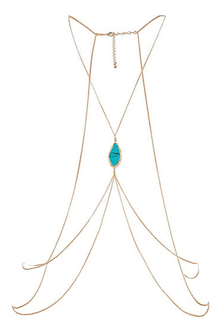 river island turquoise gold body chain