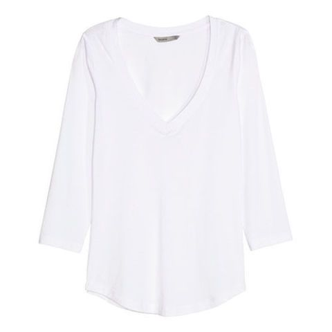 h&m pima cotton three quarter sleeve t-shirt white