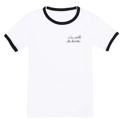 la ligne I'm with la bande embroidered white ringer t-shirt