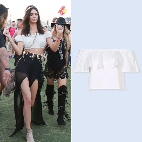kendall jenner coachella fashion in a white crop top