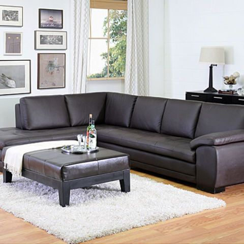 Baxton Angela Dark Brown 2 Piece Leather Sectional Sofa