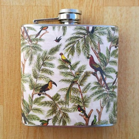 tropical bird flask