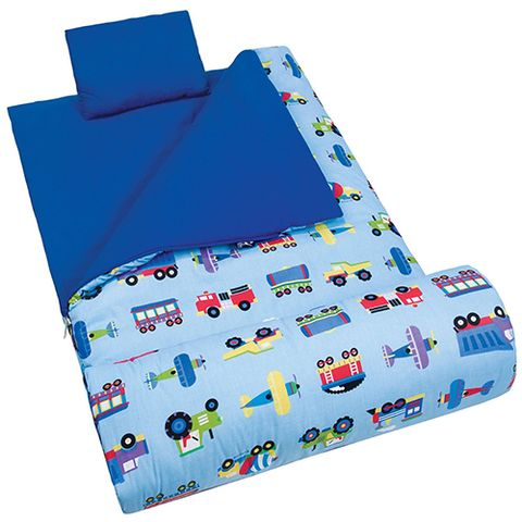 Olive Kids Trains Planes And Trucks Original Sleeping Bag Blue