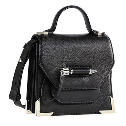 mackage mini black leather crossbody bag
