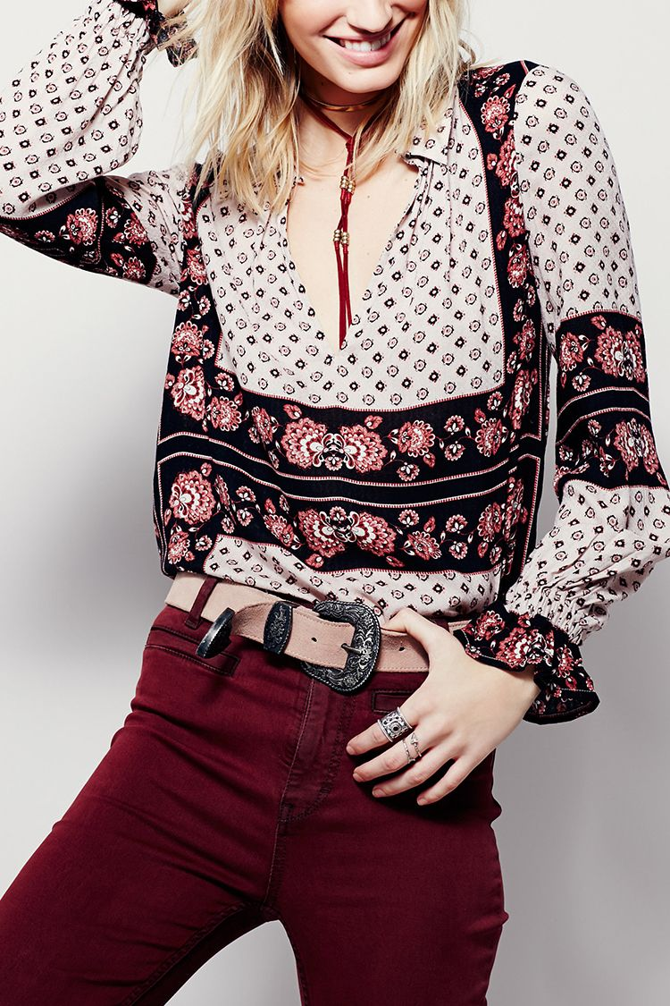 free people border print collared tunic in ash combo