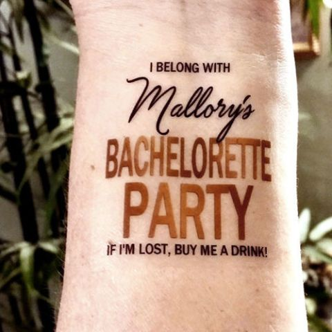 SharonHArtDesigns Personalized Bachelorette Party Tattoos
