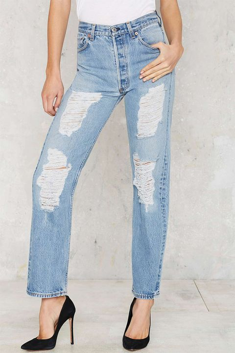 nasty gal vintage distressed levi 501 jeans