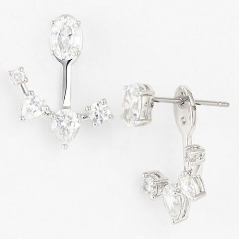 nadri crystal ear jackets in silver