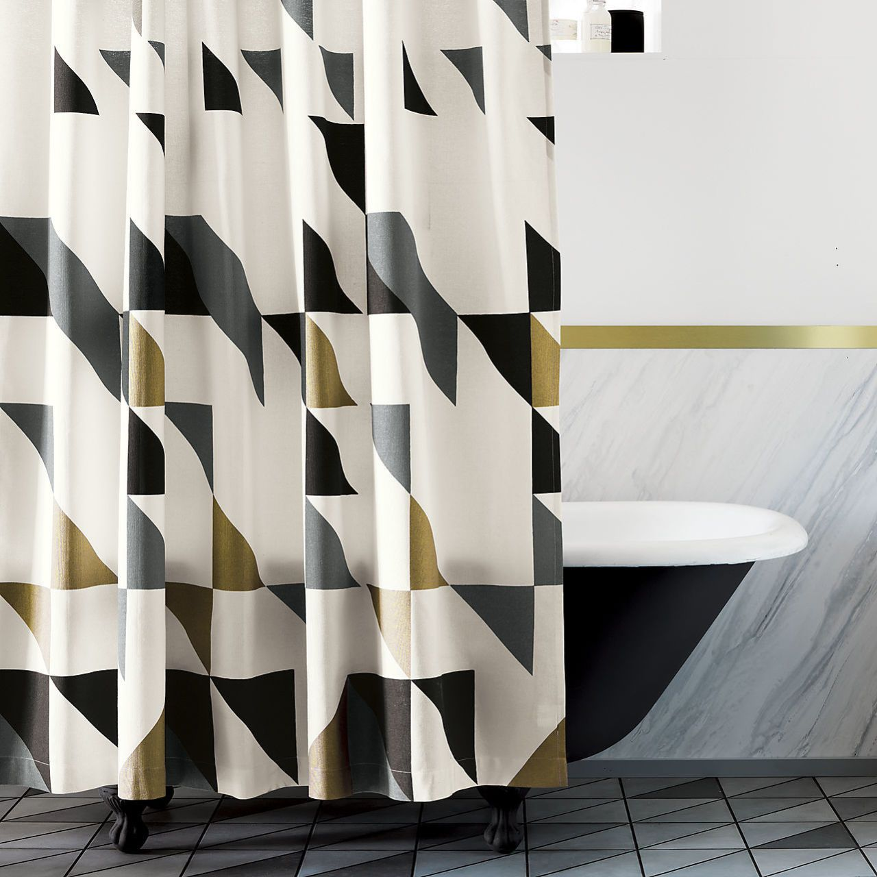 Charmant CB2 Triangle Shower Curtain