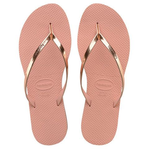 havaianas slim you rose gold flip flops