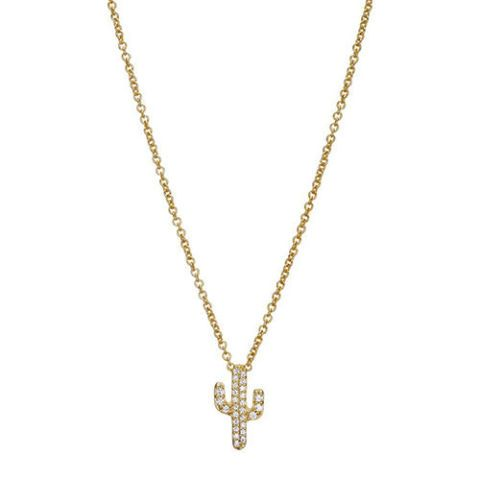 sugar bean jewelry cactus pendant necklace in yellow gold