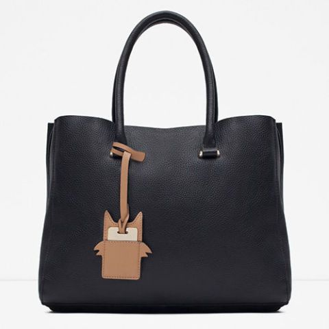 zara leather city tote bag in black