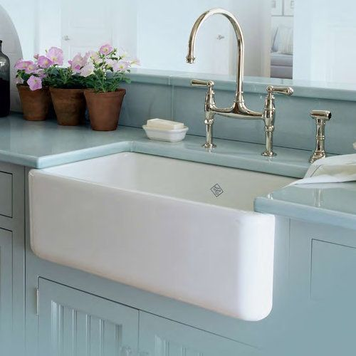 Rohl White Shaws 30 Inch Single Basin Farmhouse Fireclay Kitchen Sink