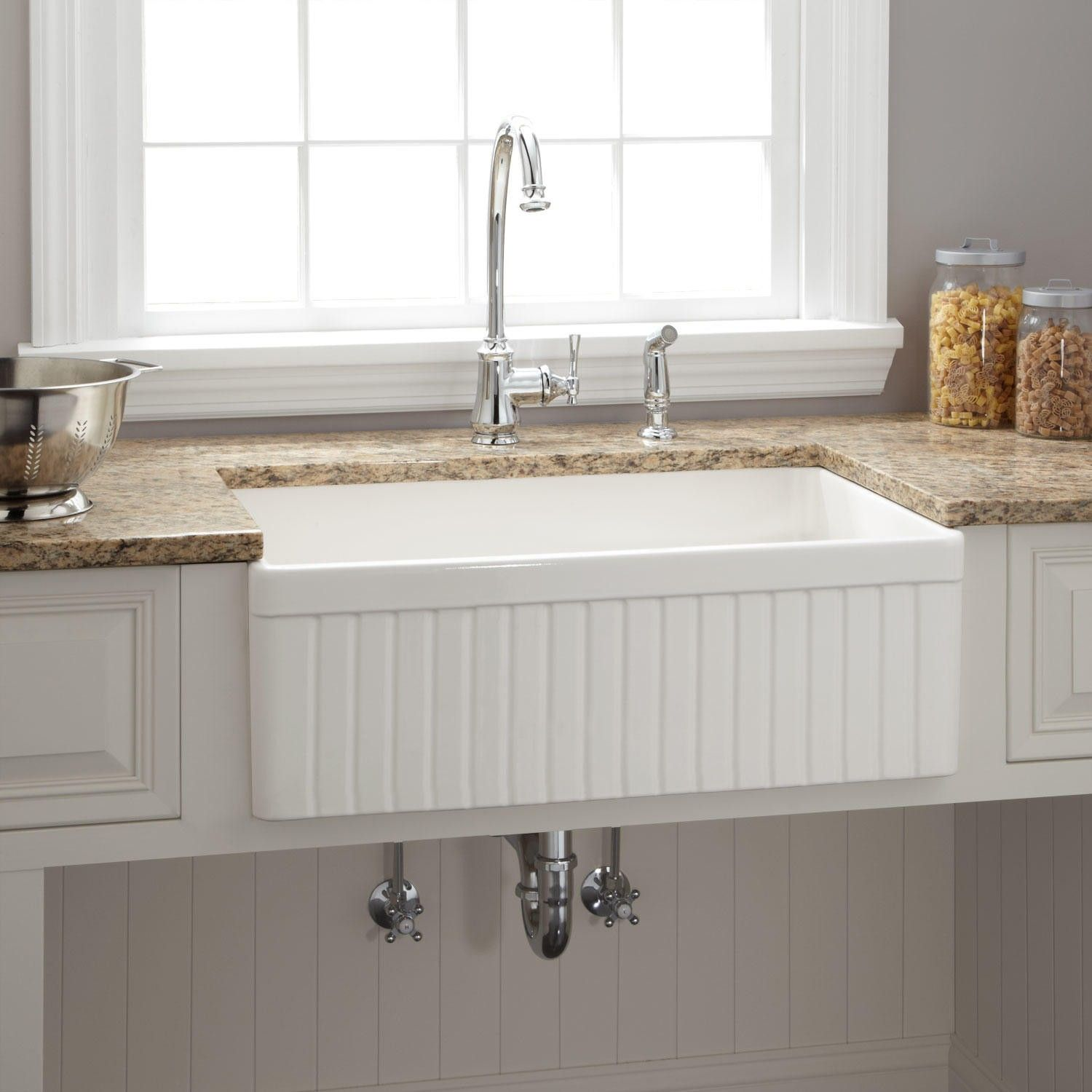 Baldwin Fireclay 30 Inch Fluted Apron Farmhouse Sink