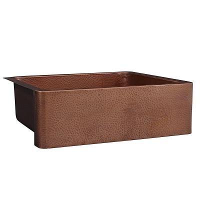 SINKOLOGY Adams Farmhouse Apron Front Handmade Pure Solid Copper 33 in. Single Bowl Kitchen Sink