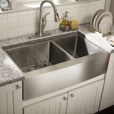 "Schon Farmhouse 36"" x 21.25"" Undermount Double Bowl Kitchen Sink"
