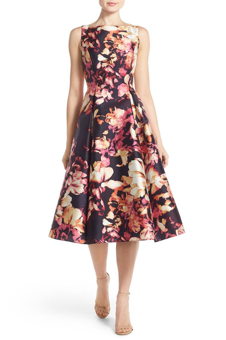 adrianna papell floral print fit and flare dress