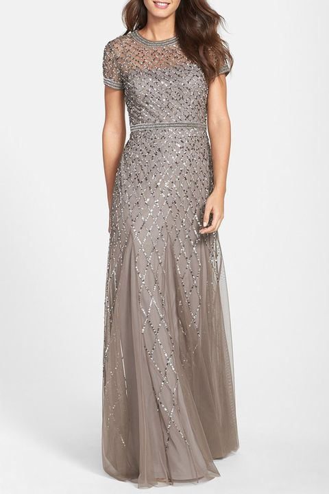 adrianna papell beaded mesh evening gown