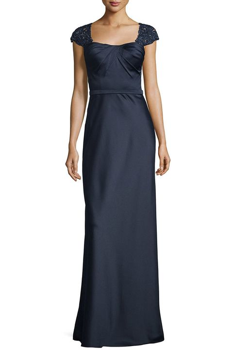 la femme navy embellished cap sleeve satin gown