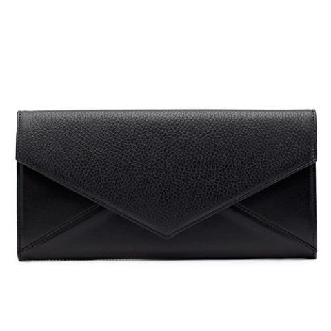 cuyana black leather envelope clutch bag
