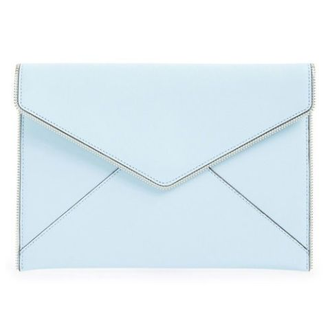 rebecca minkoff leo envelope clutch bag in blue