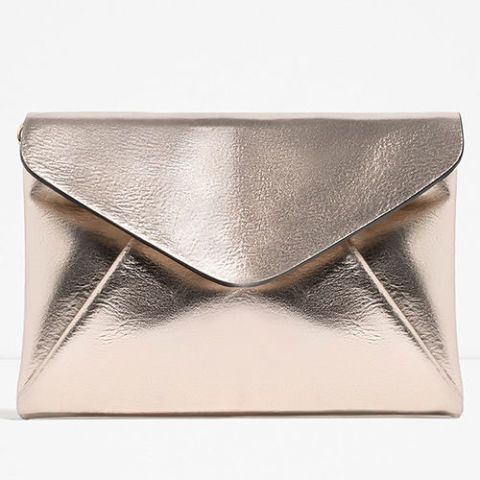zara metallic envelope clutch bag