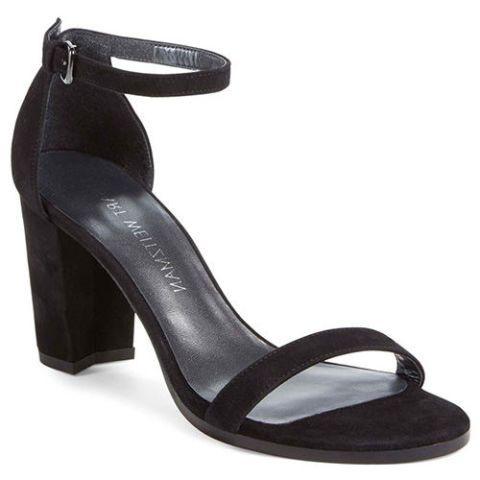 stuart weitzman nearlynude black suede sandal