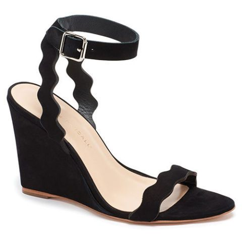 loeffler randall black scalloped wedge sandal