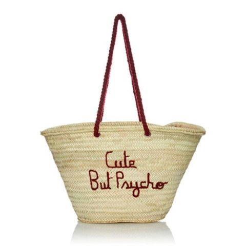 poolside cute but psycho straw tote bag