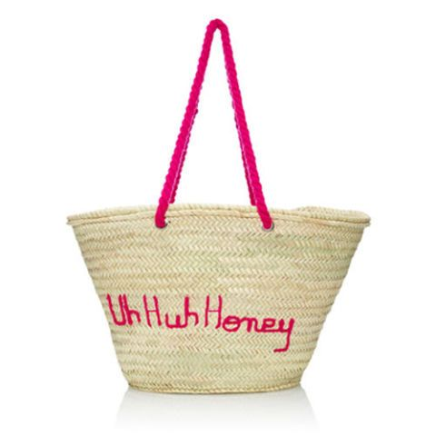poolside uh huh honey pink straw tote bag