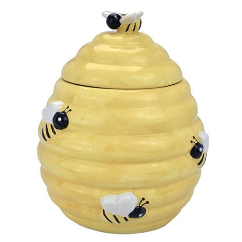 MyGift Decorative Yellow Beehive Design Ceramic Cookie Jar