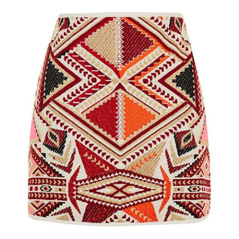 topshop jacquard embroidered pink and orange mini skirt