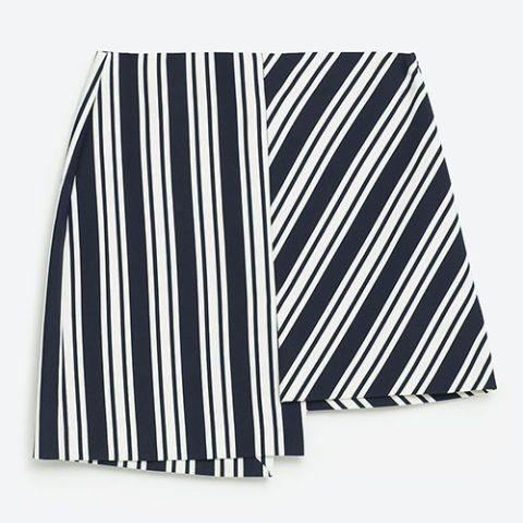 zara striped asymmetric mini skirt