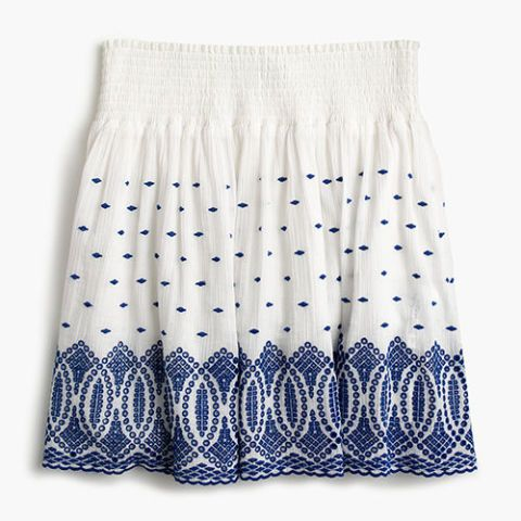 j. crew embroidered eyelet blue and white mini skirt