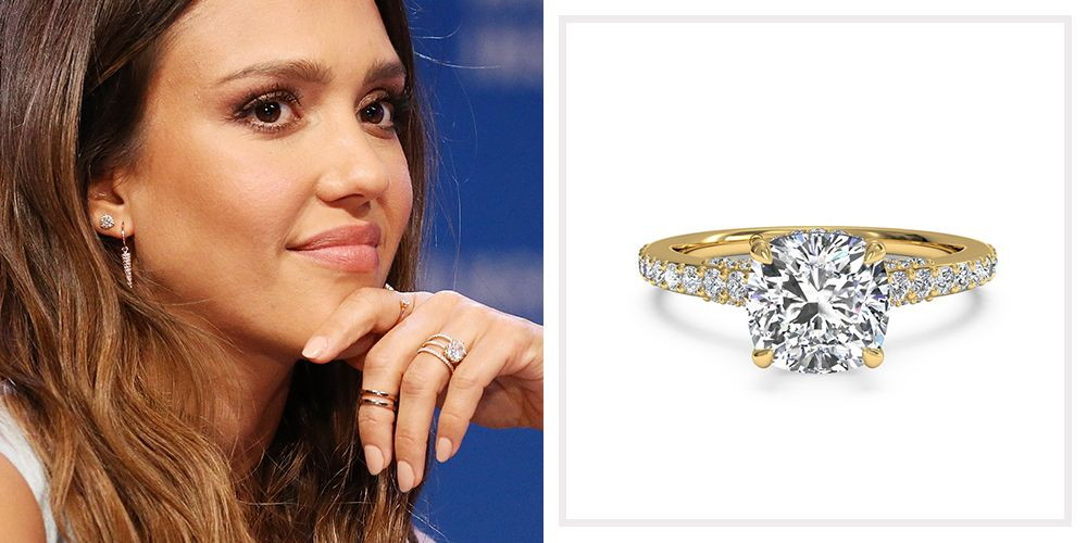 Genial Jessica Alba. Ritani French Set Diamond Band Engagement Ring