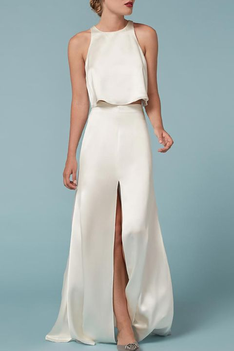 reformation white satin gemini two piece satin wedding dress