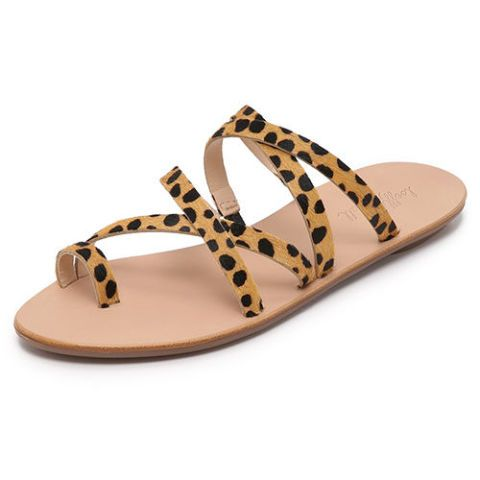loeffler randall leopard print flat sandals