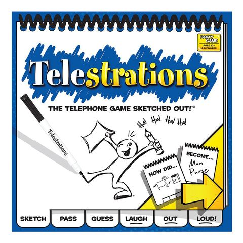 Telestrations telephone sketching camping game