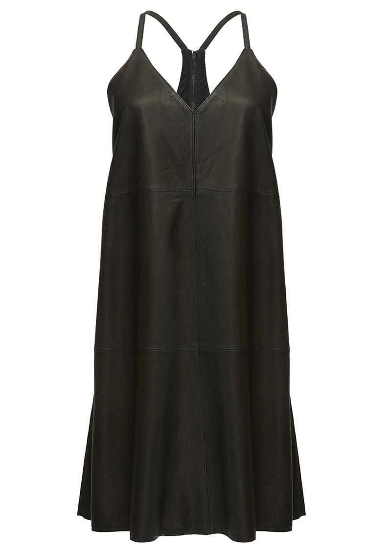 alice and olivia vikki black leather dress