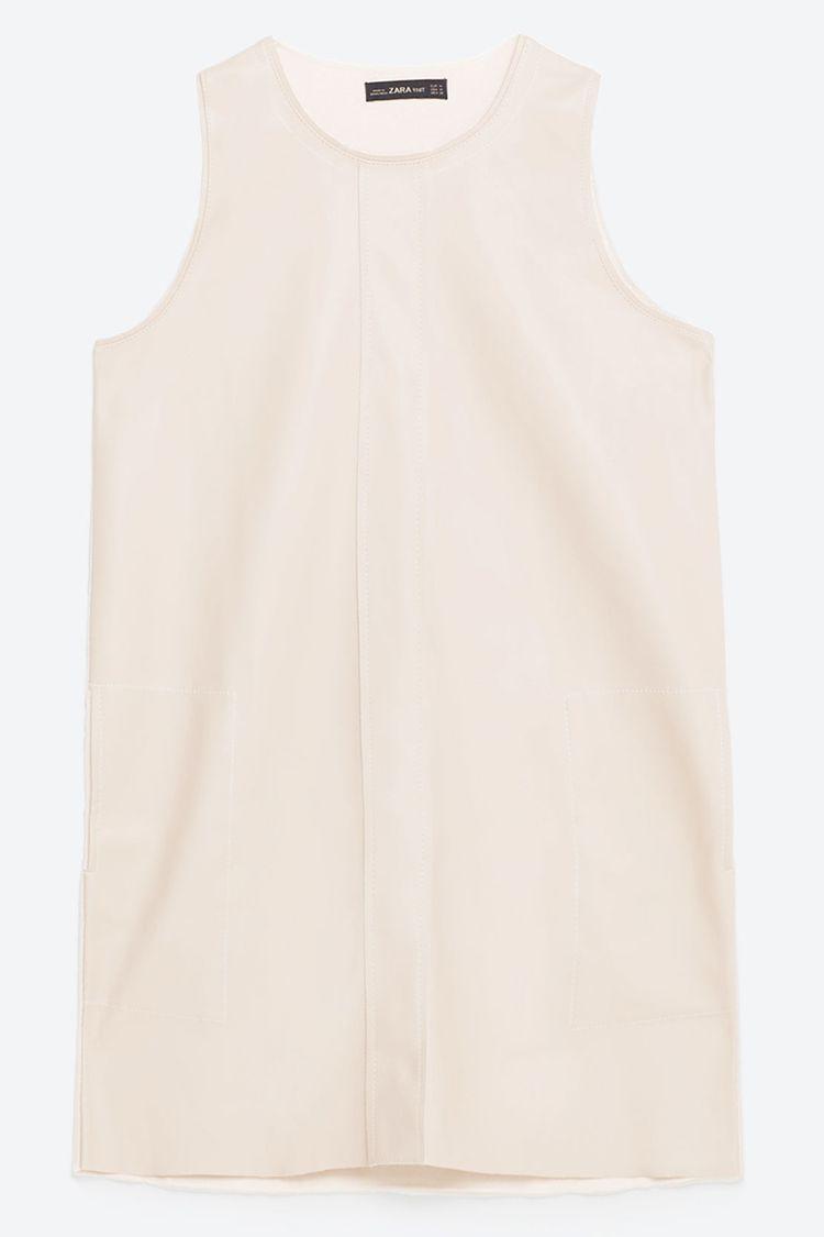 zara faux leather blush pink dress