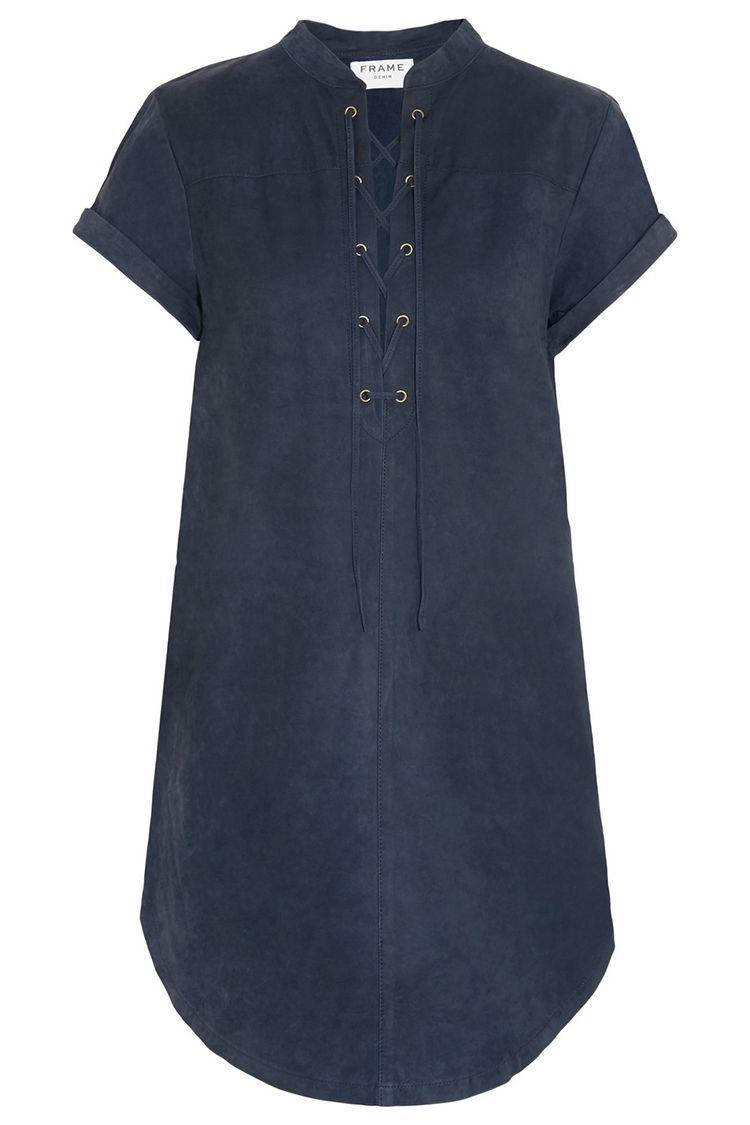 frame denim suede lace up navy blue dress