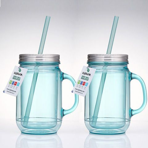 Cupture 2 Vintage Blue Mason Jar Tumbler Mug With Stainless Steel Lid and Straw